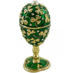Shamrock Green Musical Fabergé Egg with Gold Shamrock Accents
