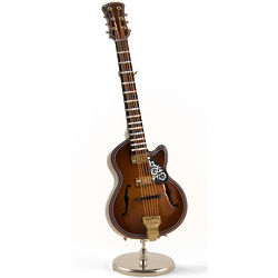 Miniature Replica F-Hole Archtop Guitar with Stand Music Box