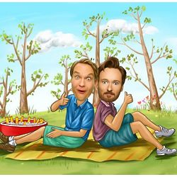 Lovely Picnic Personalized Caricature