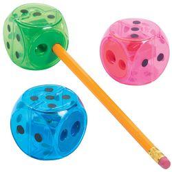 12 Colorful Dice Pencil Sharpeners