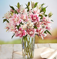 Fresh Market Double Bloom Pink Lily Bouquet