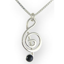 Sterling Silver and Onyx Treble Clef Necklace