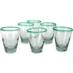 Emerald Cone Blown Glass Juice Glasses