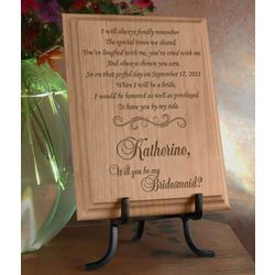 Personalized Will You Be My Bridesmaid Wooden Plaque