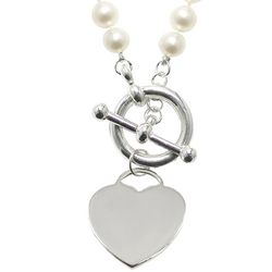 Sterling Silver Engravable Heart Toggle Clasp Pearl Necklace
