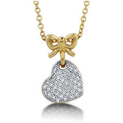 14K Gold Over Sterling Silver Vermeil Heart Ribbon Pendant