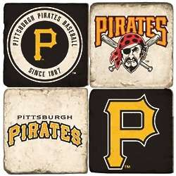 Pittsburgh Pirates Tumbled Italian Marble Coasters