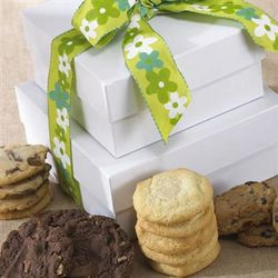 Gourmet Cookies in White Box with Flower Ribbon