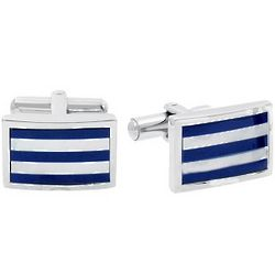 Mother of Pearl and Blue Enamel Cufflinks