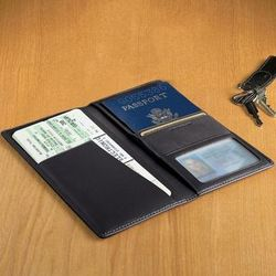 Midnight Blue Personalized Leather Passport and Ticket Holder