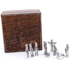 Wood Shepherds Box with Pewter Nativity Figures