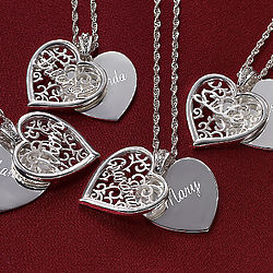 Personalized Filigree Double Heart Pendant