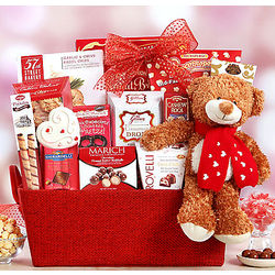 Valentine Bear and Sweets Gift Basket