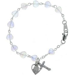 Youth's Crystal Heart Rosary Bracelet