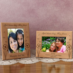 Personalized May Flowers Wooden Picture Frame