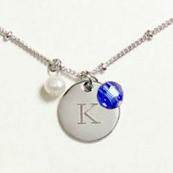 Personalized Pearl and Crystal Necklace