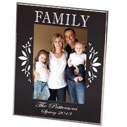 Family Black Floral Photo Frame