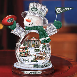New York Jets Crystal Snowman Figurine with Model Train
