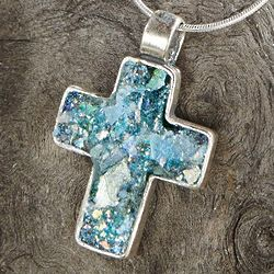 Roman Glass Cross Necklace