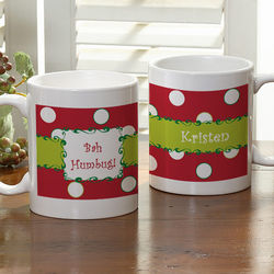Polka Dot Personalized Christmas Coffee Mug