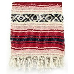 Red, Pink, and Black Mexican Blanket Serape