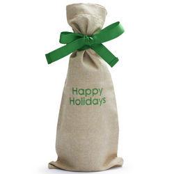 Happy Holidays Wine Bag