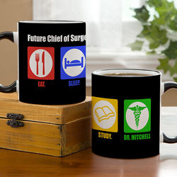 Medical Students Eat, Sleep, Study Personalized Ceramic Mug