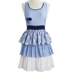 Blue Gingham Tiered Vintage-Inspired Apron