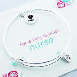 Nurse's Meaningful Message Bracelet with Heart Charm