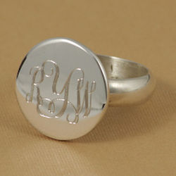 Monogrammed Round Sterling Silver Ring