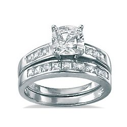 DiamonUltra CZ Platinum over Sterling Silver Wedding Ring Set