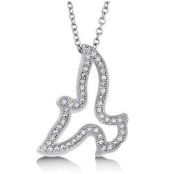 Cubic Zirconia and Sterling Silver Open Dove Pendant