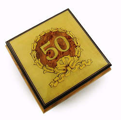50th Anniversary with Gold Wreath Musical Jewelry Box