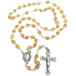 Bohemian Glass Topaz November Birthstone Rosary