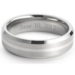 Men's Titanium and Sterling Wedding Band