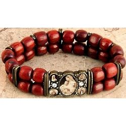 Blessed Mother Double Row Brazilian Wood Bracelet
