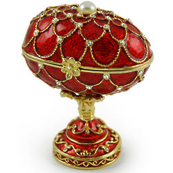 Oval Sapphire Red Musical Fabergé Egg with Gold Accents