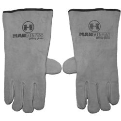 Gray Leather Grilling Gloves