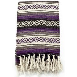 Mexican Serape Blanket in Purple & Grey