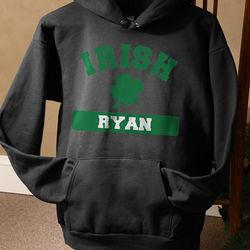 Personalized Irish Shamrock Black Hooded Sweatshirt