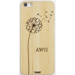 Monogrammed Dandelion Design Bamboo Wood iPhone 4/4S Skin