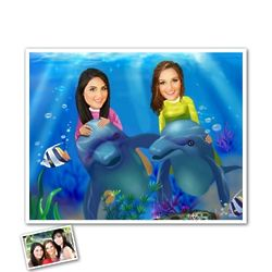 Underwater Adventure Female Duo Caricature Print from Photos