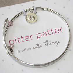Pitter Patter Baby Feet Charm Meaningful Message Bracelet