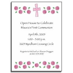 Personalized Invitations with Pink Cross & Roses