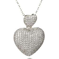 Micro Pave CZ Double Heart Necklace