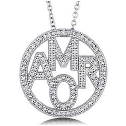 Cubic Zirconia and Sterling Silver Amor Pendant