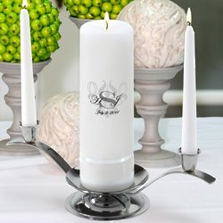 Personalized Royal Allure Round Pillar Unity Candle Set