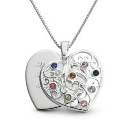 Birthstone Family Heart Necklace