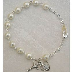 Adult's Pearl Rosary Bracelet