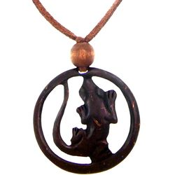 Lucky Gecko Coconut Shell Pendant Necklace